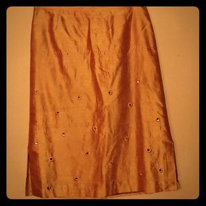 Anthropologie skirt S-4 burnt orange 100% silk